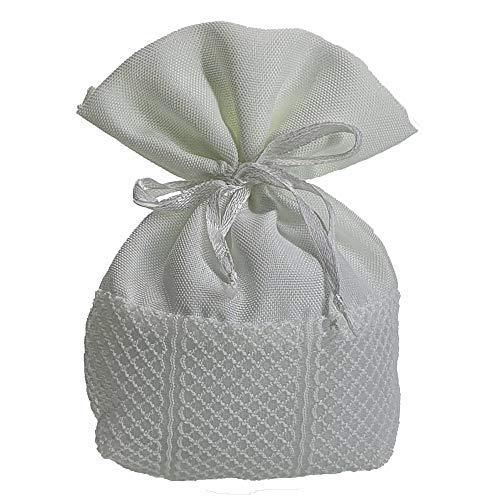 Steffanazzi 20 stuks snoepjes om zelf te maken set stoffen zak voor gastgeschenken gastgeschenken doop confirmatie huwelijk verjaardag feestsieraad Bianco 10