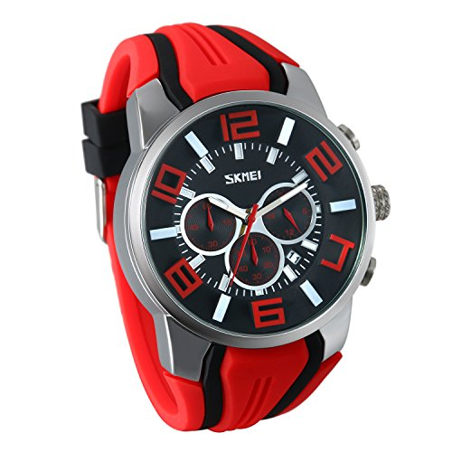 JewelryWe Herren Damen Uhren Analog Quarz Kalender 30m wasserdichte Armbanduhr Sportuhr mit Silikonarmband (rot)