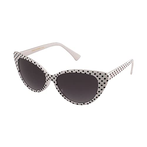 d12b91893e Polka Dot Cat Eye Womens Mod Fashion Super Cat Sunglasses