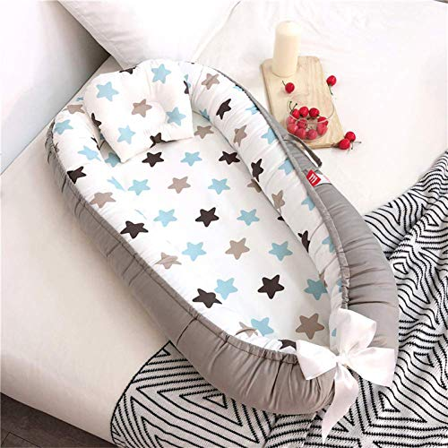 Abreeze Baby Bassinet for Bed,Blue Stars Baby Lounger, Breathable & Hypoallergenic Co-Sleeping Baby Bed, 100% Cotton Portable Crib Pillow for Bedroom/Travel/Camping