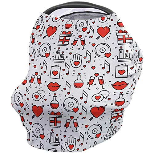 Best Deals! Valentine's Day Nursing Cover for Baby Breastfeeding, Soft Breathable Stretchy Carseat C...
