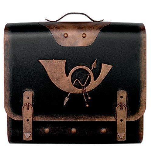 Briefkasten alter Ranzen mit Posthorn im Antik-Look - Schwarz-Gold - Posthorn 3: Farbe: SK Schwarz-Kupfer | Entnahme: Rechts