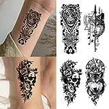Tatuajes Temporales de Brazos Para Adultos,Patrones de Animales de Tatuajes Falsos Para Hombres,Tatuajes Temporales a Prueba de Agua,Tatuajes Seguros y no Tóxicos,Pegatinas de Tatuajes en 3D,Carnaval