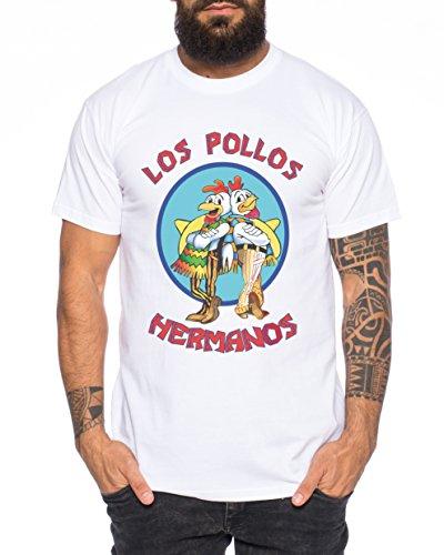 Los Pollos Herren T-Shirt Hermanos Bad Heisenberg Breaking, Farbe:Weiß;Größe:L