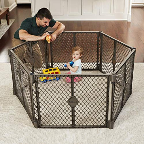 Toddleroo by North States Superyard 6 Panel Baby Play Yard: Safe play area anywhere. Folds up with carrying strap for easy travel. Freestanding. 18.5 sq. ft. enclosure (26' Tall, Fieldstone)