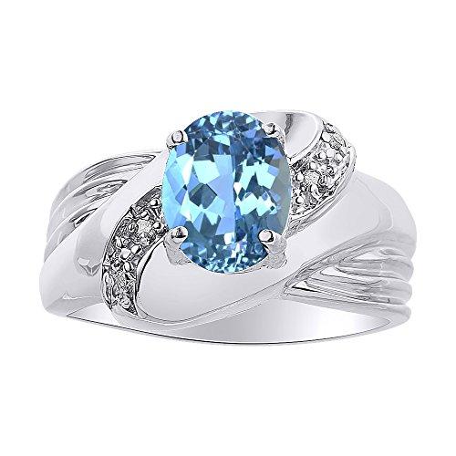 Anillo de oro blanco de 14 quilates con piedra de nacimiento de color azul y diamante