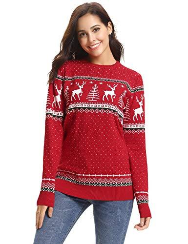 Aibrou Familie Festliche Gestrickte Pullover Weihnachtspullover Rundhals Sweater Strickpullover, Rot S
