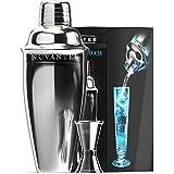 Nuvantee Cocktailshaker Set - Premium Bar Kit mit kostenlosem Messbecher - Cocktailrezepte - 0,7L Edelstahl Cocktail Shaker - Martinishaker,  Mixer mit Sieb