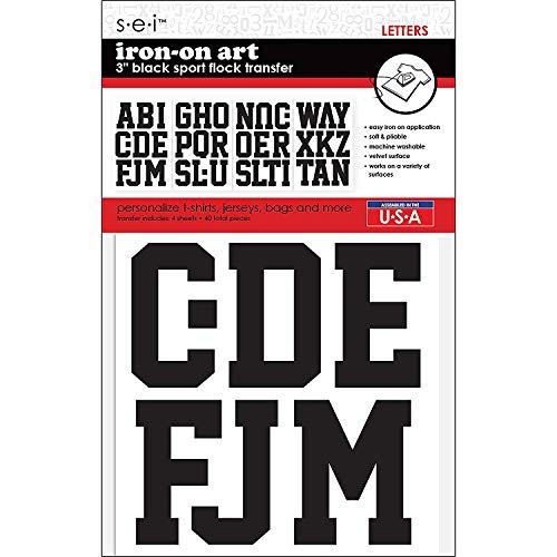SEI Papier Lettre transferts Sport 7,6 cm, Noir
