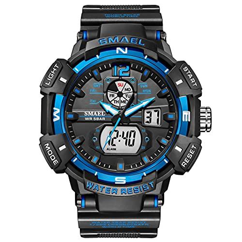 メンズウォッチアウトドアスポーツ防水ミリタリー複合機デュアルディスプレイLEDストップウォッチアナログアーミー腕時計戦術,Black blue