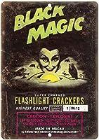 2個 黒魔術花火パッケージアートカスタムメタルブリキサイン熟成探しサインホームハウスコーヒービールドリンクバー8x12インチ
