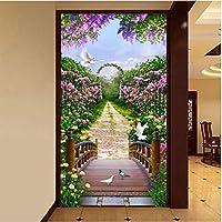 Iusasdz カスタム3D壁画壁紙牧歌的な庭の花道路ウッドブリッジ写真壁布リビングルーム入り口背景壁画-400X280Cm