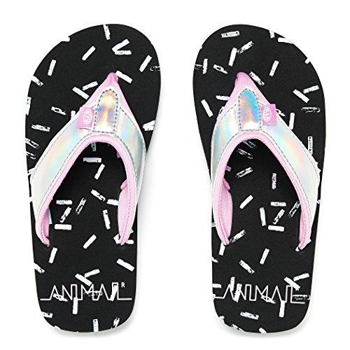 Animal Swish Glitz Flip Flops - Black