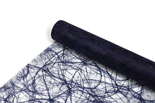 Sizoweb® Originale - 25 m x 30 cm - Chemin de table tissé - Mariage - Bleu foncé