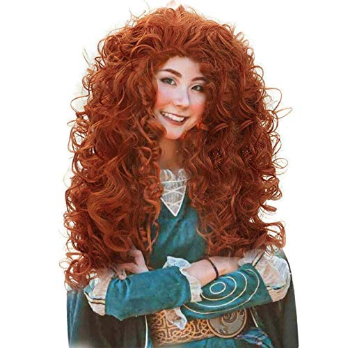 JoneTing Long Curly Synthetic Orange Wig for Princess Costume