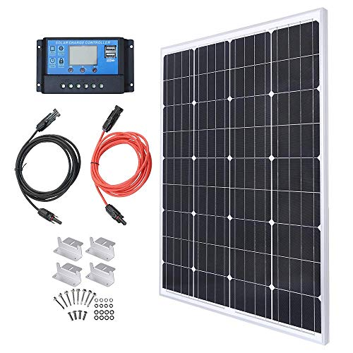 100W 12V Solarpanel Solarmodul Solarpanel-Set 100 Watt 12 Volt Monokristallines Off-Gitter-System für Wohnmobil, Boot mit 20A Solarladegerät Laderegler Solar-Laderegler