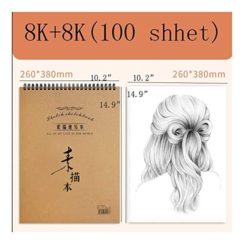 Cuaderno clásico Espiral de Libros de Dibujo Bound Boceto de Papel Ideal for el Dibujo y Material Escolar, 2-Pack, En Blanco Libro del Bosquejo del cojín, carbón de leña for Sketchi