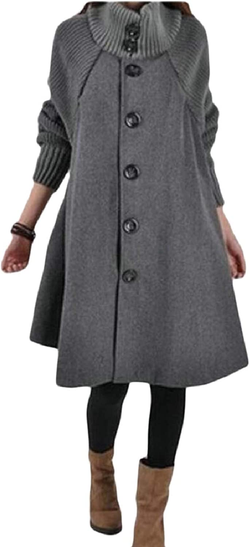 ZXFHZSCA Women Knit Sleeves Wool Cloak Coat Turtleneck Button A Lined Overcoat