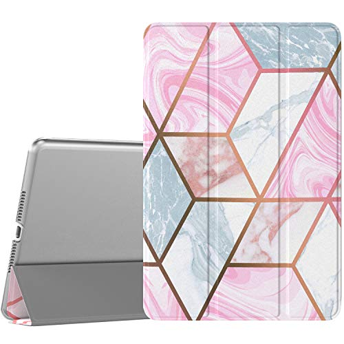 TiMOVO Case for New iPad mini 5 2019 (7.9', 5th Generation), Slim Translucent Frosted Back Protector Smart Case with Auto Wake/Sleep, Smart Cover for iPad mini 7.9' 2019-3D Geometry and Marble