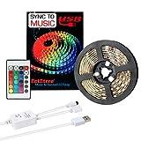 Luces de tira LED Luces LED sincronizar a la música 16.4Ft / 5M Luces de tira LED 300 Luces LED SMD 5050 Controlador IR flexible...