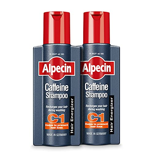 Alpecin Champú Cafeína C1 2x 250ml | Champu anticaida hombre y con cafeina | Tratamiento para la caida del cabello | Alpecin Shampoo Anti Hair Loss Treatment Men