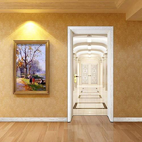 Pintura de la pared de la etiqueta engomada de la puerta del árbol de la hoja amarilla del sol cartel de puerta autoadhesivo, imagen de pared autoadhesiva DIY, papel tapiz impermeable de PVC-95cm(
