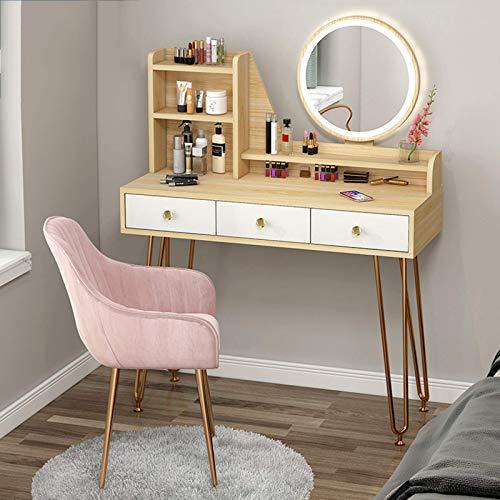 Living Equipment Tocador Juego de tocador con luz LED ajustable de 3 colores, mesa de maquillaje, diseño moderno blanco con taburete acolchado, espacio de almacenamiento de alta capacidad, tocador