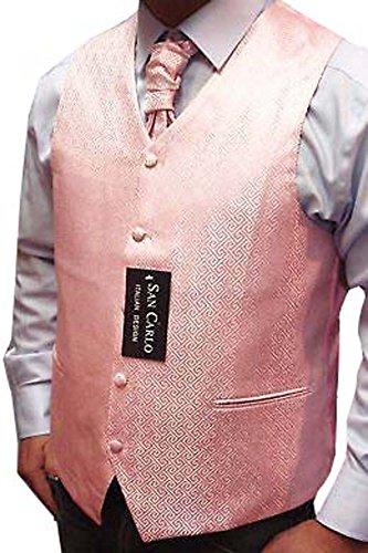 """Elegance1234 Qualité Motif géométrique Mariage Rose pâle Gilet de Jeu des Hommes(ref:Pale Pink Geometric Waistcoat) (XL (44""""))"""