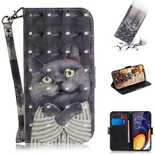 Premium Business PU leer Phone Shell Phone Case Functioneel Patroon 3D ingekleurde tekening knuffel Kat Horizontale Flip Leather Case for Galaxy A60, met Holder & Card Slots & Wallet Stijlvolle telefo