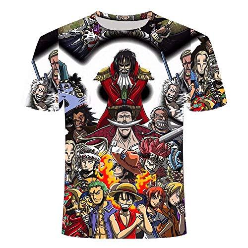 TJJS Camiseta de Verano con impresión 3D, Camiseta de Grupo de Sombrero de Paja de Anime, Camiseta Informal Holgada para Hombre, Ropa para Hombre, Camiseta Fresca-L