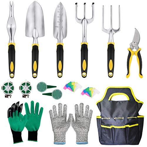 Faylapa 33 Pcs Gardening Tool Set,Heavy Duty Gardening Tools with Garden Gloves and Garden Handbag Gardening Supplies Gifts for Men Women
