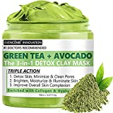 Green Tea + Avocado Clay Mask, Detox Skin, Minimizes pores, Moisturizes, enriched with Collagen and Hyaluronic Acid