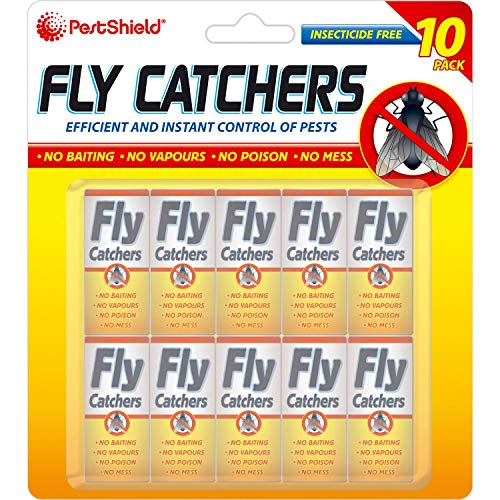 PESTSHIELD 10 PACK OF CLEAR STICKY PAPER HANGING PULL OUT FLY TRAP CATCHER INSECT KILLER STRIP TAPE