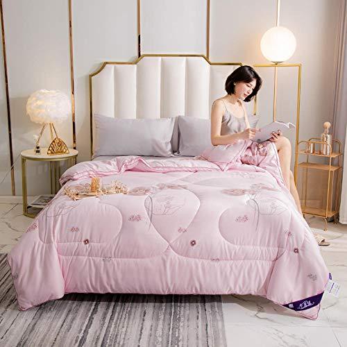CHOU DAN bettdecke und Kissen,Home Textil Baumwolle Seide Quilt handgefertigt dicken warmen einzelnen Doppel Winter Quilt Kern-200 x 230 cm 3500 g_Rosa