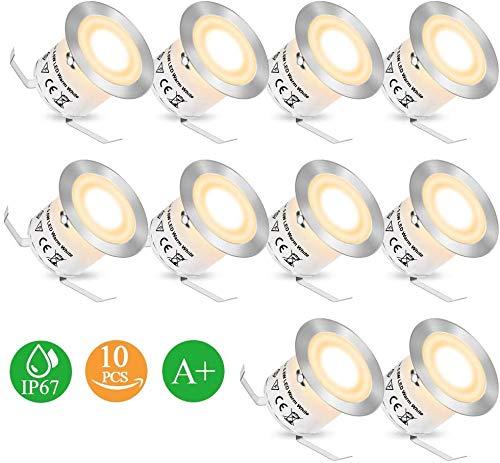 Bodeneinbaustrahler LED - Einbaustrahler 10PCS Terrassenbeleuchtung Bodeneinbauleuchte CroLED IP67 32mm Deckenstrahler Terrassen 50000+ Stunden[Energieklasse A+]