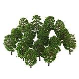WINOMO 20ST Modell Bäume Miniatur Landschaft Landschaft Zug Eisenbahn Bäume Maßstab 1:100 dunkelgrün -