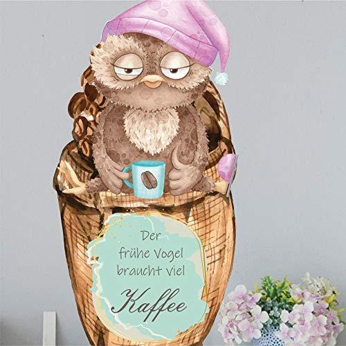 greenluup Wandsticker Wandaufkleber der frühe Vogel braucht viel Kaffee Küche Wanddeko
