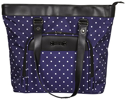 Kenneth Cole Reaction Dot Matrix 600d Polka Dot Polyester 15.6' Top Zip Travel Tote, Navy