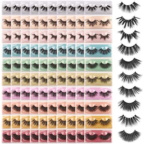 FARRED Wholesale 25mm Faux Mink Lashes,100 Pairs 10 Styles,Bulk Long Dramatic 6D Fake Eyelashes Strip Volume Lashes,Synthetic False Eyelashes