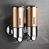 XIANL Dispensador De LíQuido De Champú Ducha De Champú Manual Montaje En Pared Dispensador De Ducha De Bomba Simple/Doble Cocina 2-Gold