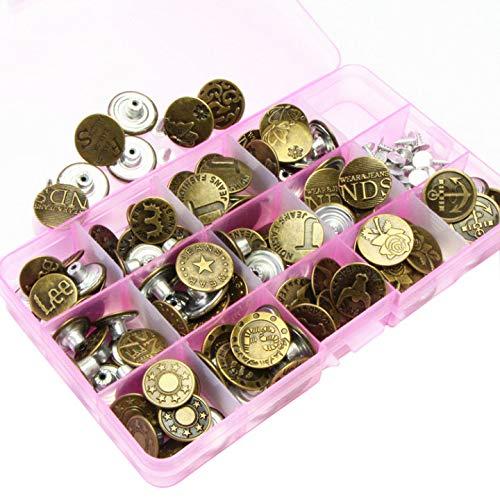 100pcs Botones Presión de Metal, Botón de Tachuela, DIY Coser Botones, Botón Presión para Jeans vaqueros chaquetas, con Caja de Almacenaje, varios Patrones, Color de Bronce y Plata
