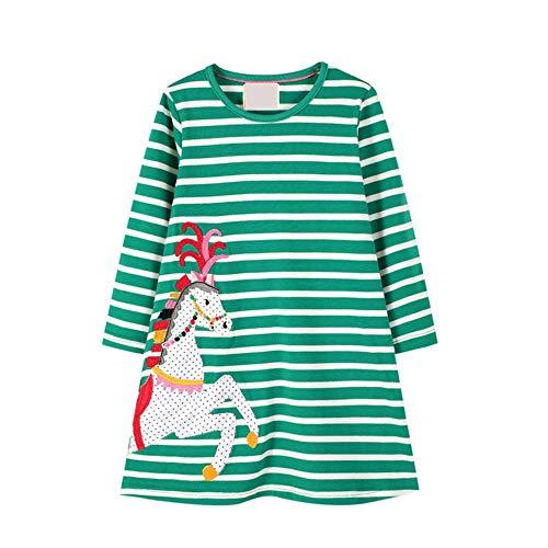 BeedooDoobee Vestido de algodón de manga larga para niñas de 2 a 7 años - verde - 7 años