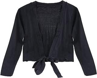Girls' Classic Long Sleeve Ballet Wrap Top Thick Gymnastics Dance Knit Cardigan Shrug Sweater