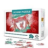 Liverpool: Champions logo Rompecabezas para adultos Juego familiar de madera de 500 piezas Rompecabezas de desafío difícil para aliviar el estrés para niños y adultos 52x38cm