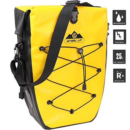 HIKENTURE fietstas voor bagagedrager, fiets 25L, fietstas rugzak waterdicht, achterwieltas, ideale fietsaccessoire achter (zwart/geel)
