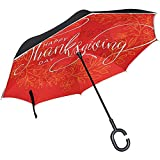 Elxf Reverse Umbrella Happy Thanksgiving Day Inverted Umbrella Reversible für Golf...
