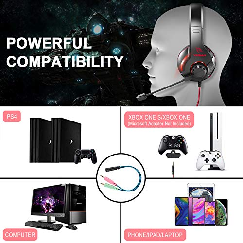 YINSAN Xbox One Headset, Gaming Headset PS4 Headset Surround Stereo Gaming Kopfhörer mit Mikrofon und LED Licht, kompatibel mit PC / PS4 / Xbox One/Switch (USB Verlängerungskabel enthalten), Rot