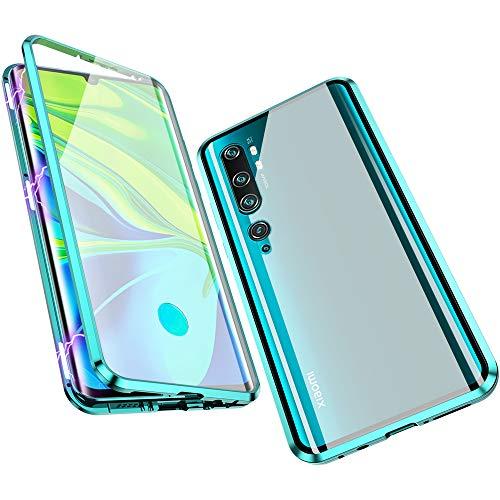 Jonwelsy Hülle für Xiaomi Mi Note 10 / CC9 Pro, Magnetische Adsorption Metall Stoßstange Flip Cover mit 360 Grad Schutz Doppelte Seiten Transparent Gehärtetes Glas Handyhülle für CC9 Pro (Grün)