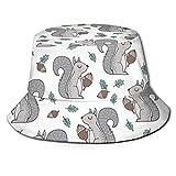 Sombrero de Cubo Ardillas Reversibles empacables con Hojas y bellotas Otoño Otoño Imprimir Sombrero para el Sol Sombrero de Pescador Gorra Acampar al Aire Libre