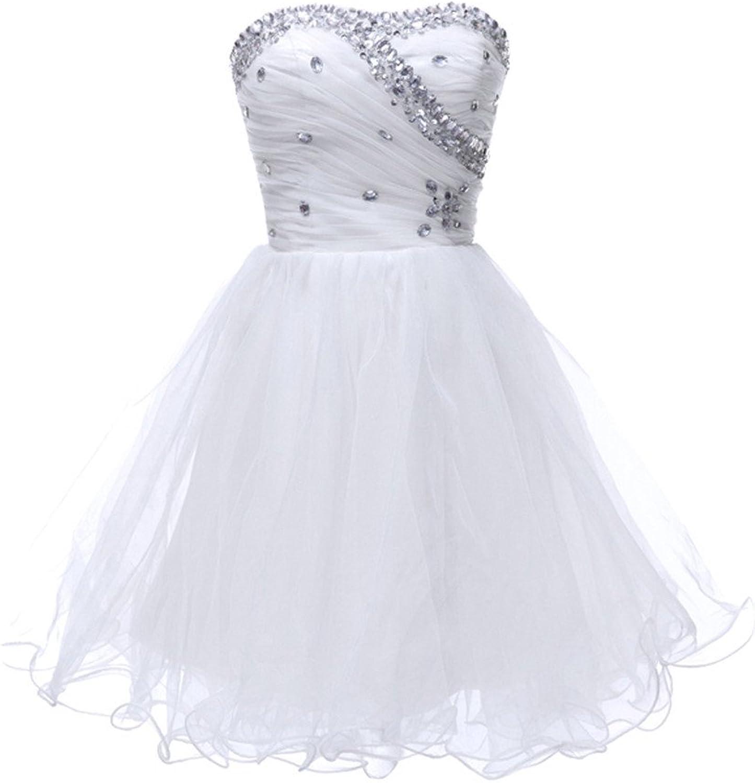 Jingliz Sweetheart Short Prom Dress Crystal Beaded Girl's Mini Party Cocktail Dress
